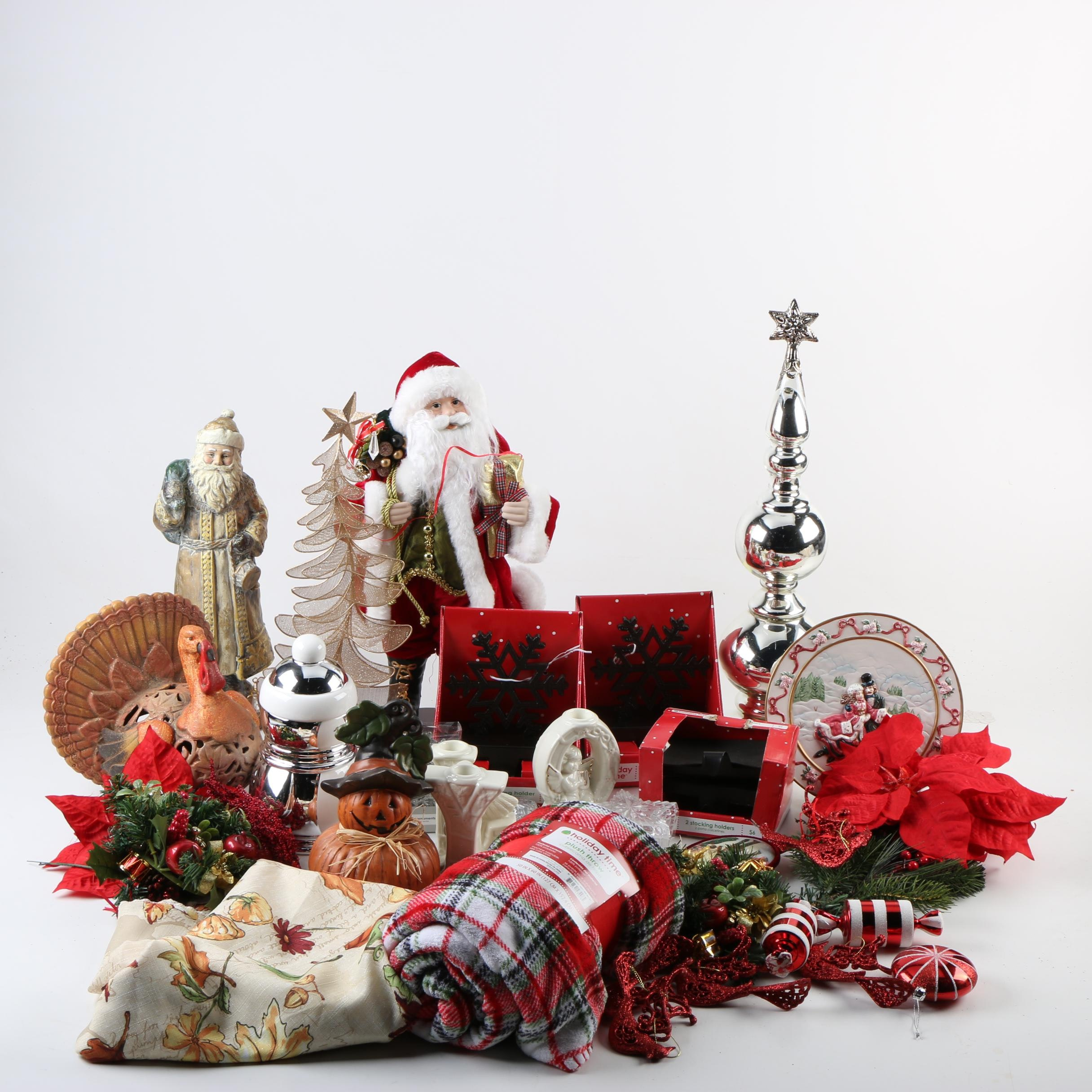 Seasonal Accessories Including Figurines and Ornaments