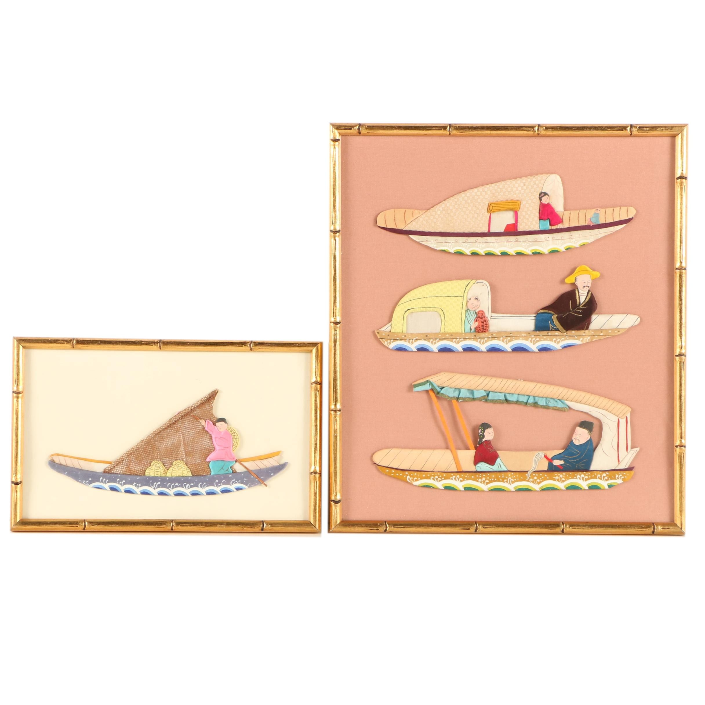 East Asian Hand-Painted Silk Boats