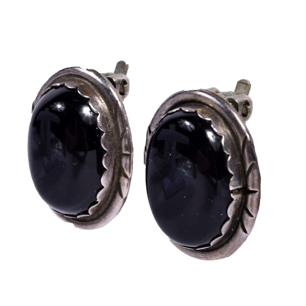 Sterling Silver Black Onyx Clip-On Earrings