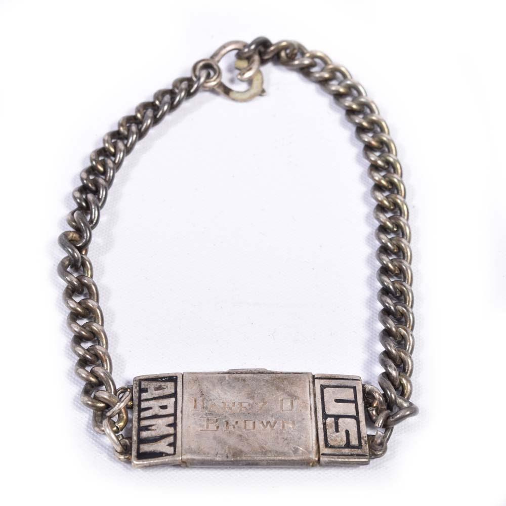 US Army Sterling Silver ID Bracelet