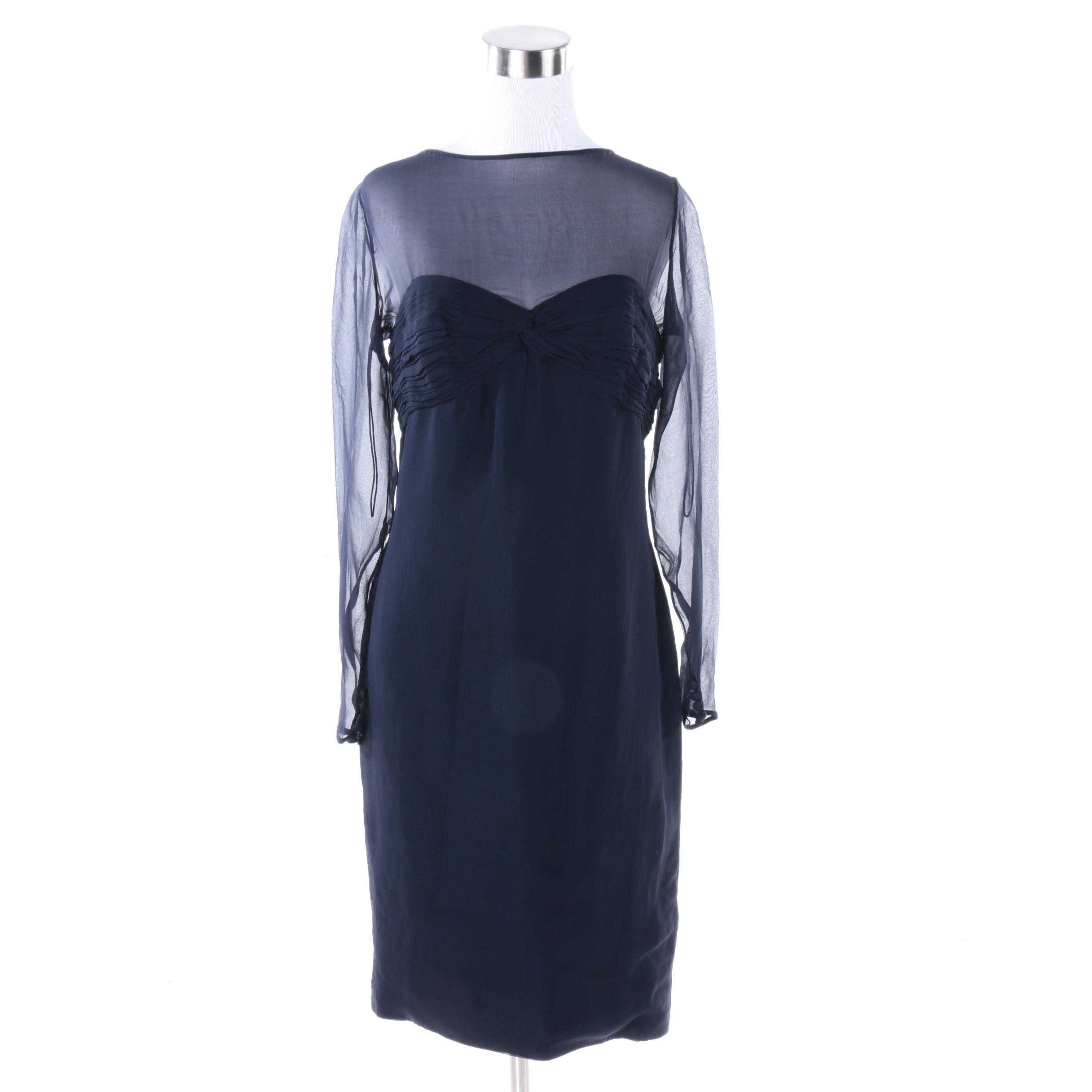 1980s Vintage Stanley Platos - Martin Ross Navy Blue Cocktail Dress