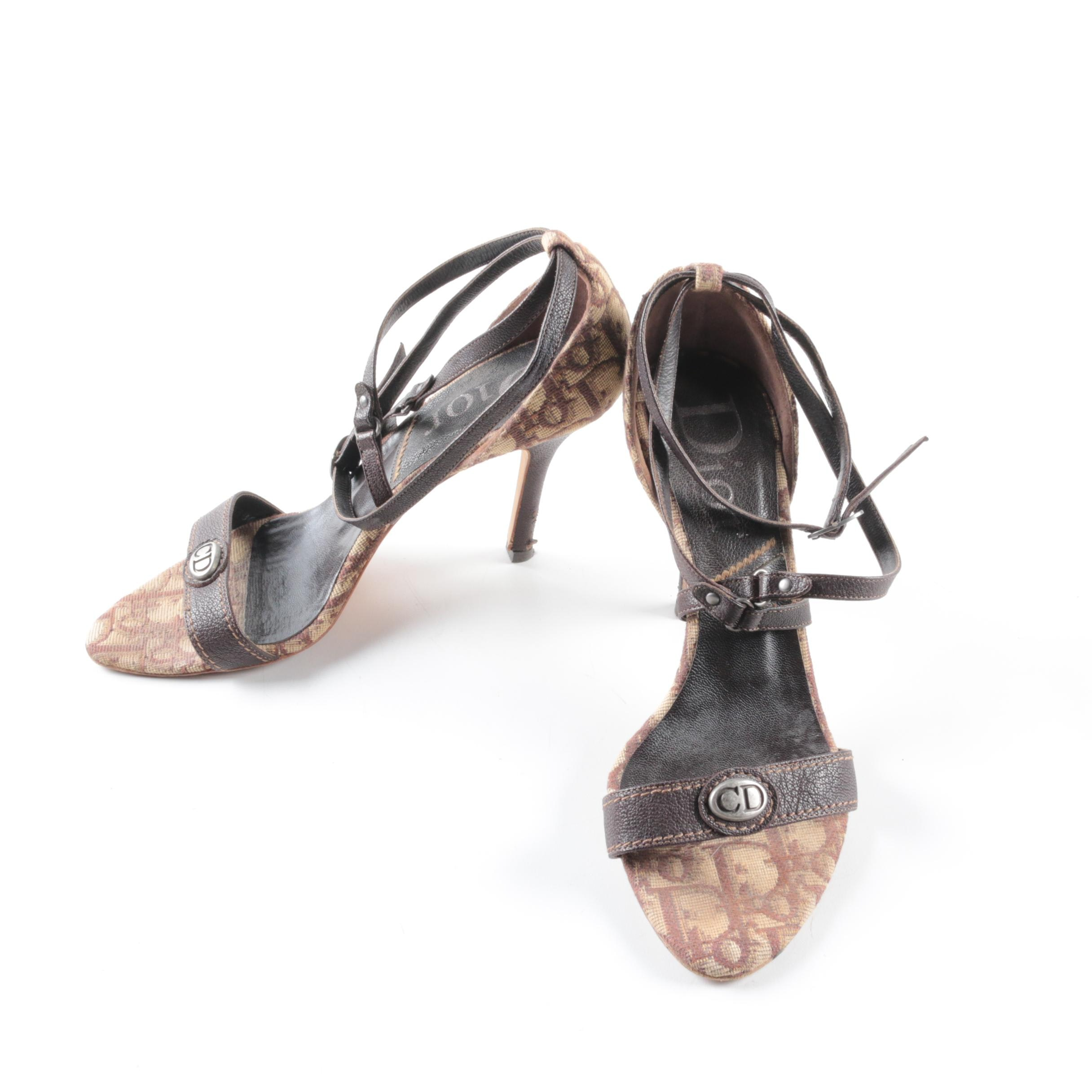 Christian Dior Monogram Canvas and Leather High Heels