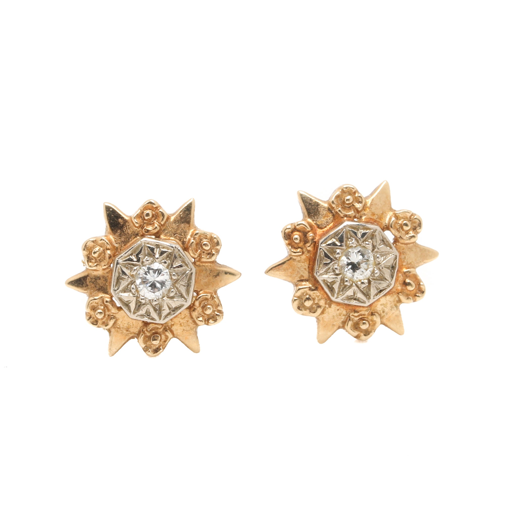 14K Two-Tone Gold Diamond Stud Earrings