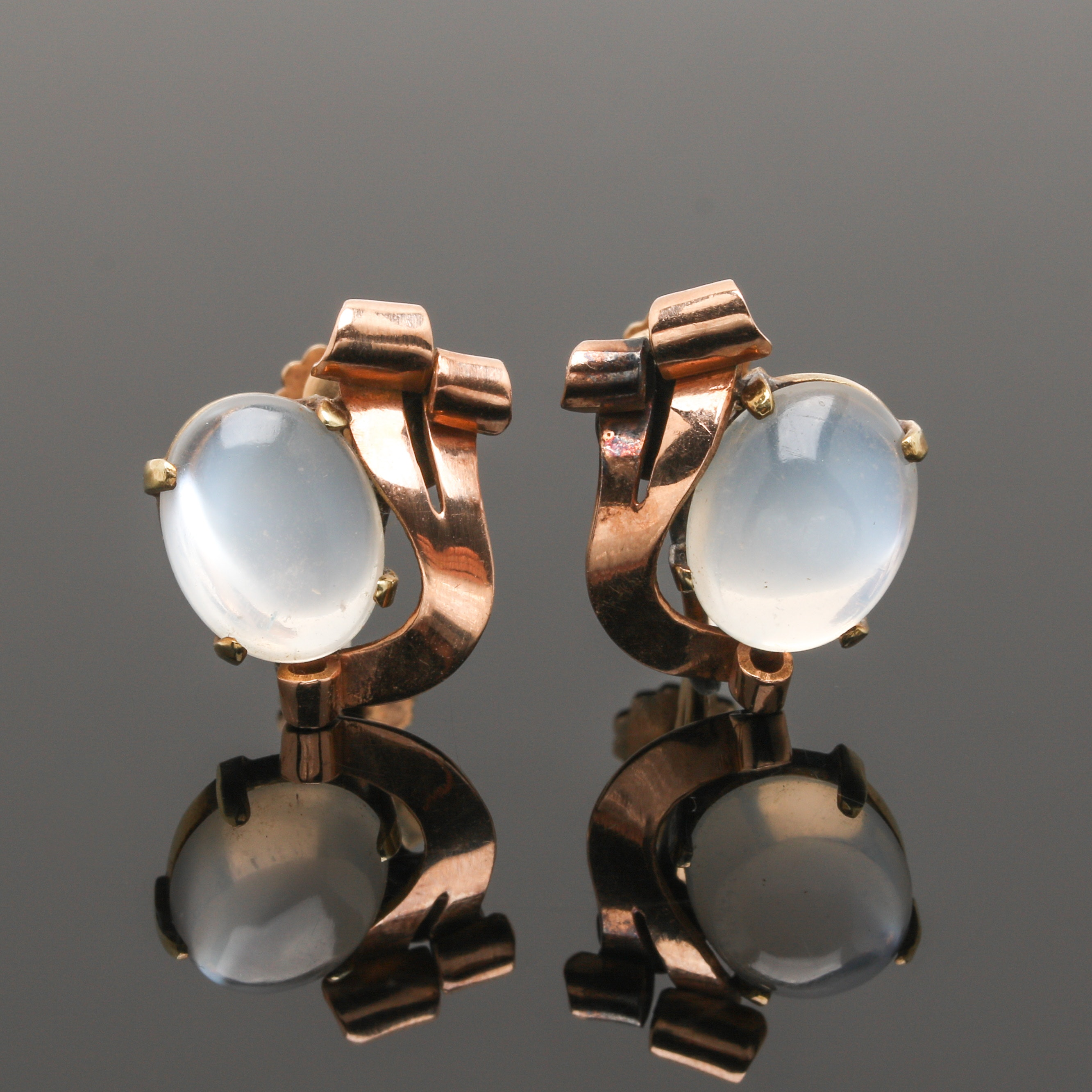 Retro 14K Rose and Yellow Gold Moonstone Earrings