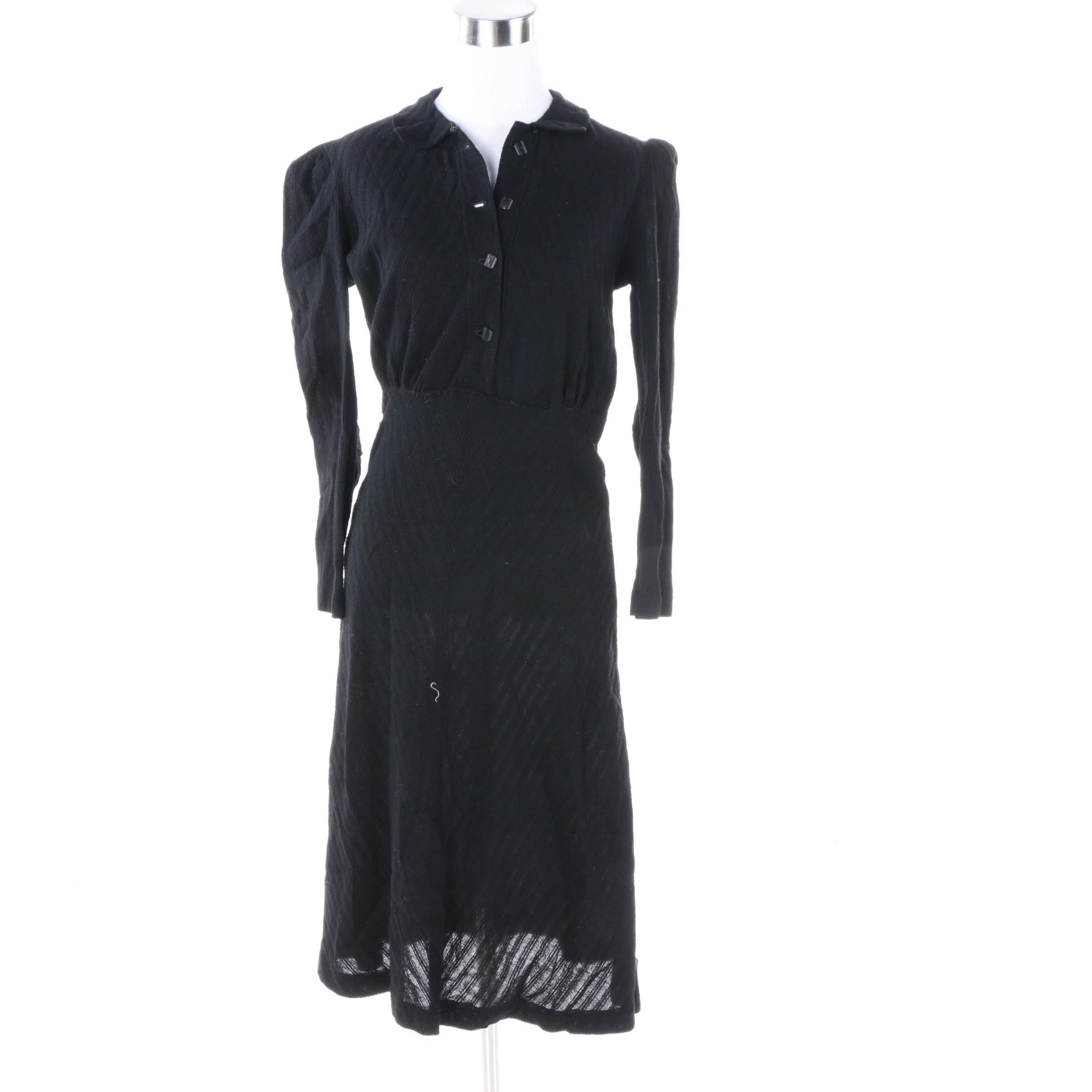Vintage Black Cotton Dress