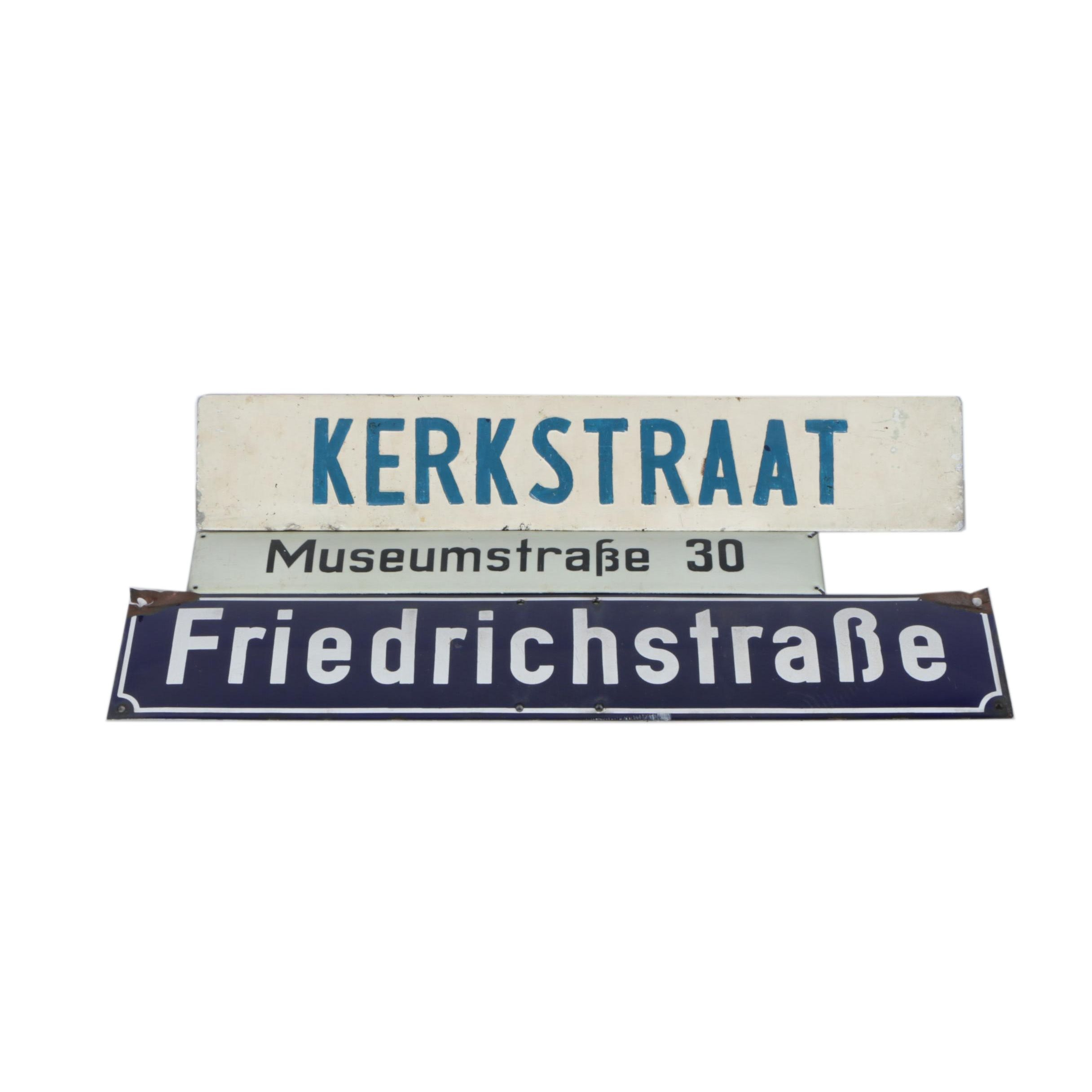 Grouping of Dutch and German Street Signs