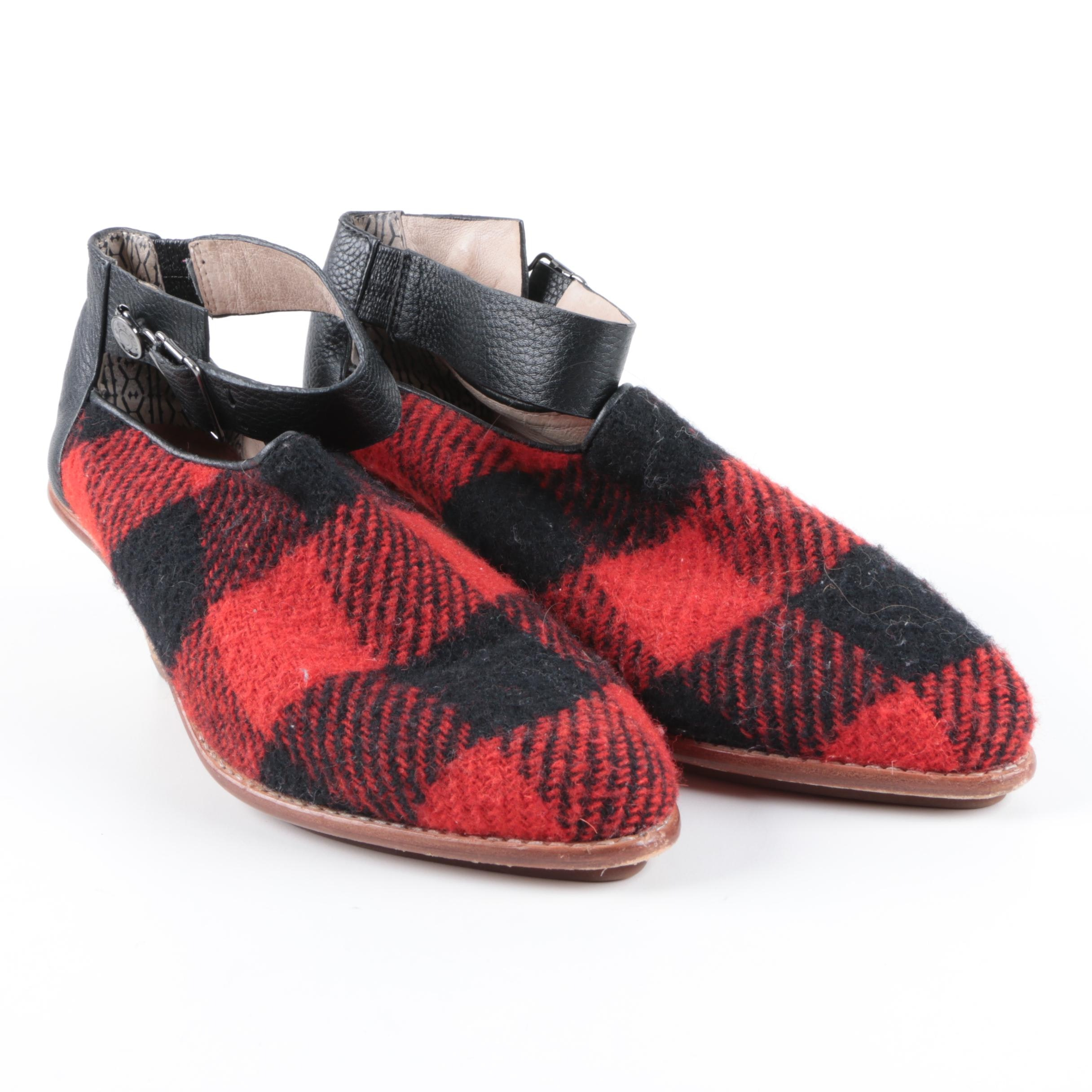 Women's Matt Bernson Plaid and Leather Heeled Shoes with Ankle Straps