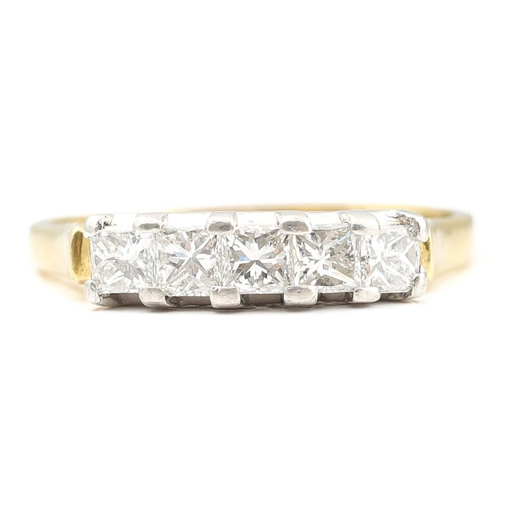 18K Yellow Gold and Platinum Princess Cut Diamond Band