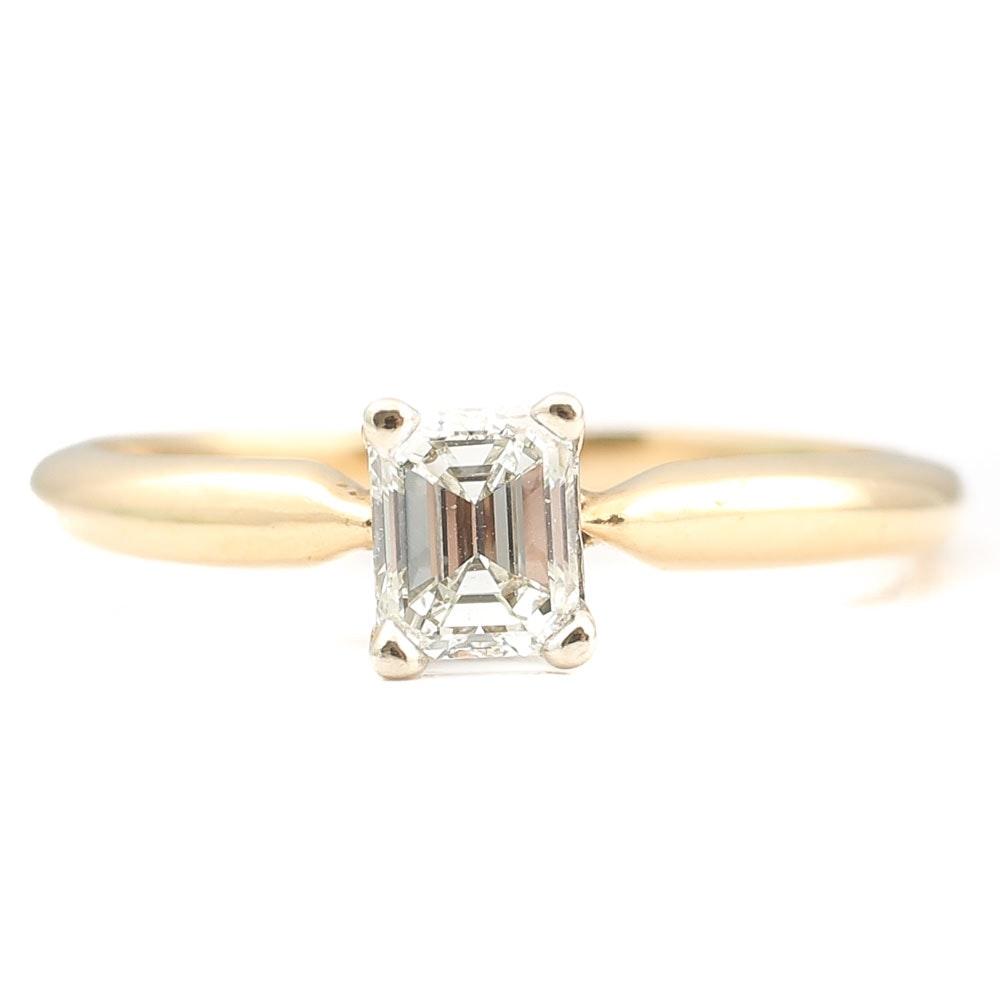14K Yellow Gold Emerald Cut Diamond Solitaire Ring