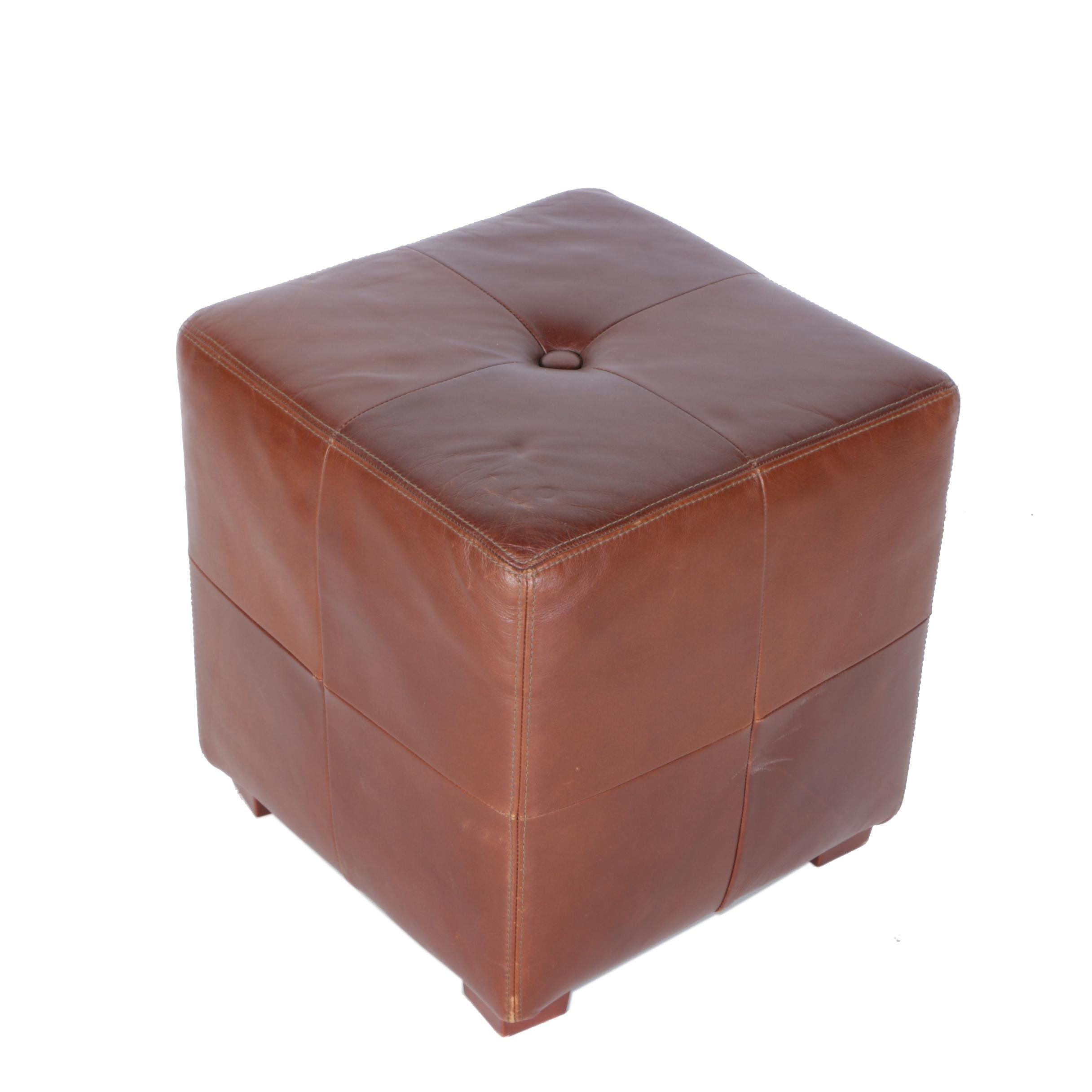 "Brown Leather ""Sullivan"" Cube by Pottery Barn"