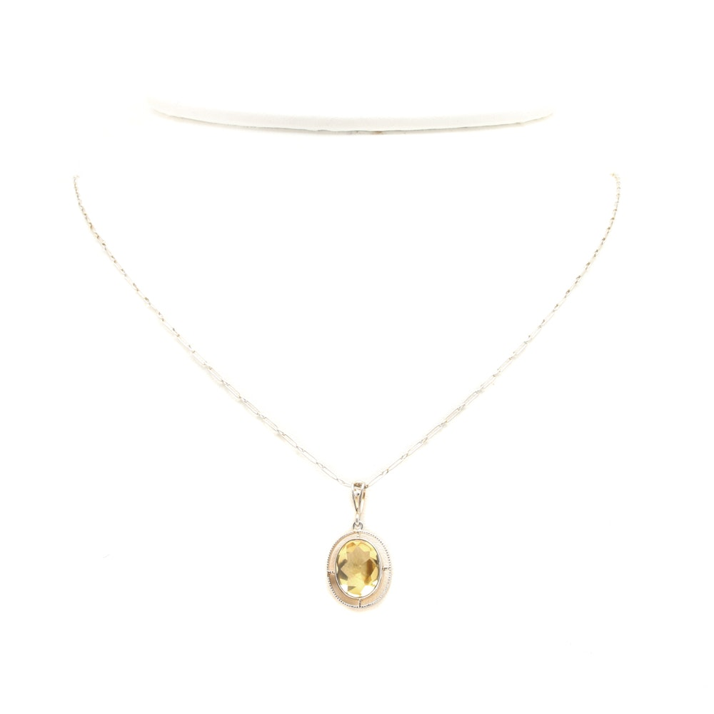 Art Deco Platinum and 14K Yellow Gold Citrine Pendant Necklace