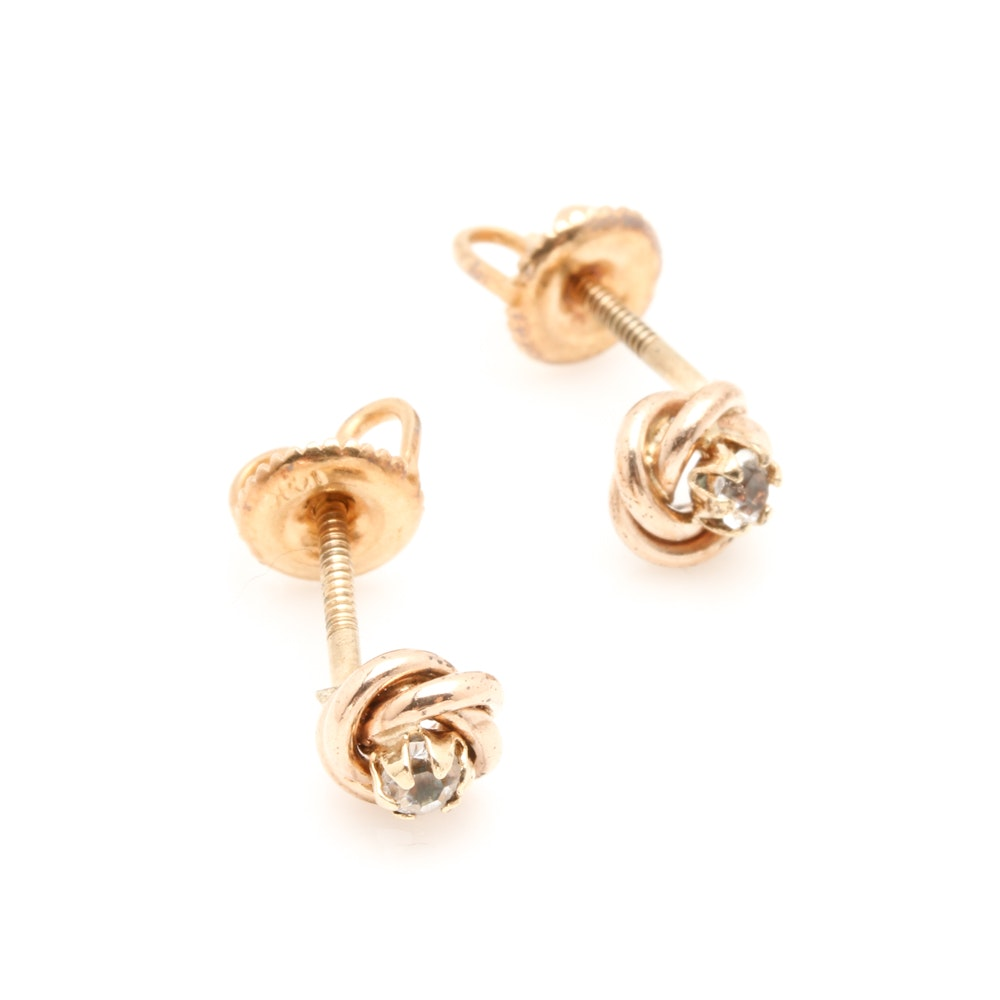14K and 10K Yellow Gold Glass Earrings