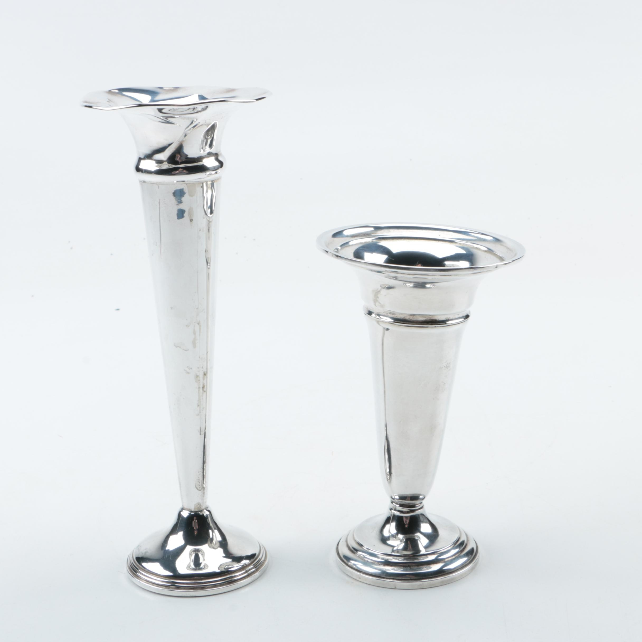 Elmore Silver Co and Empire Silver Co Weighted Sterling Silver Bud Vases