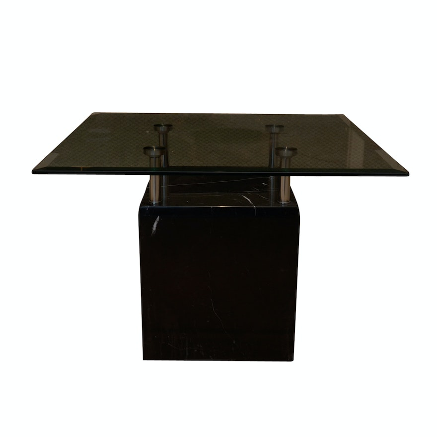Marble Cube And Glass Coffee Table EBTH - Marble cube coffee table