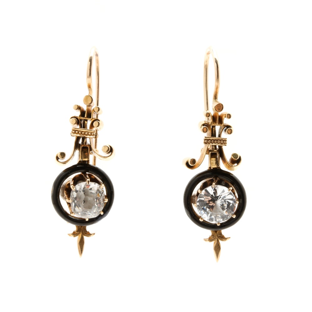 Victorian 18K, 14K, and 10K Yellow Gold Glass, White Topaz, and Enamel Earrings
