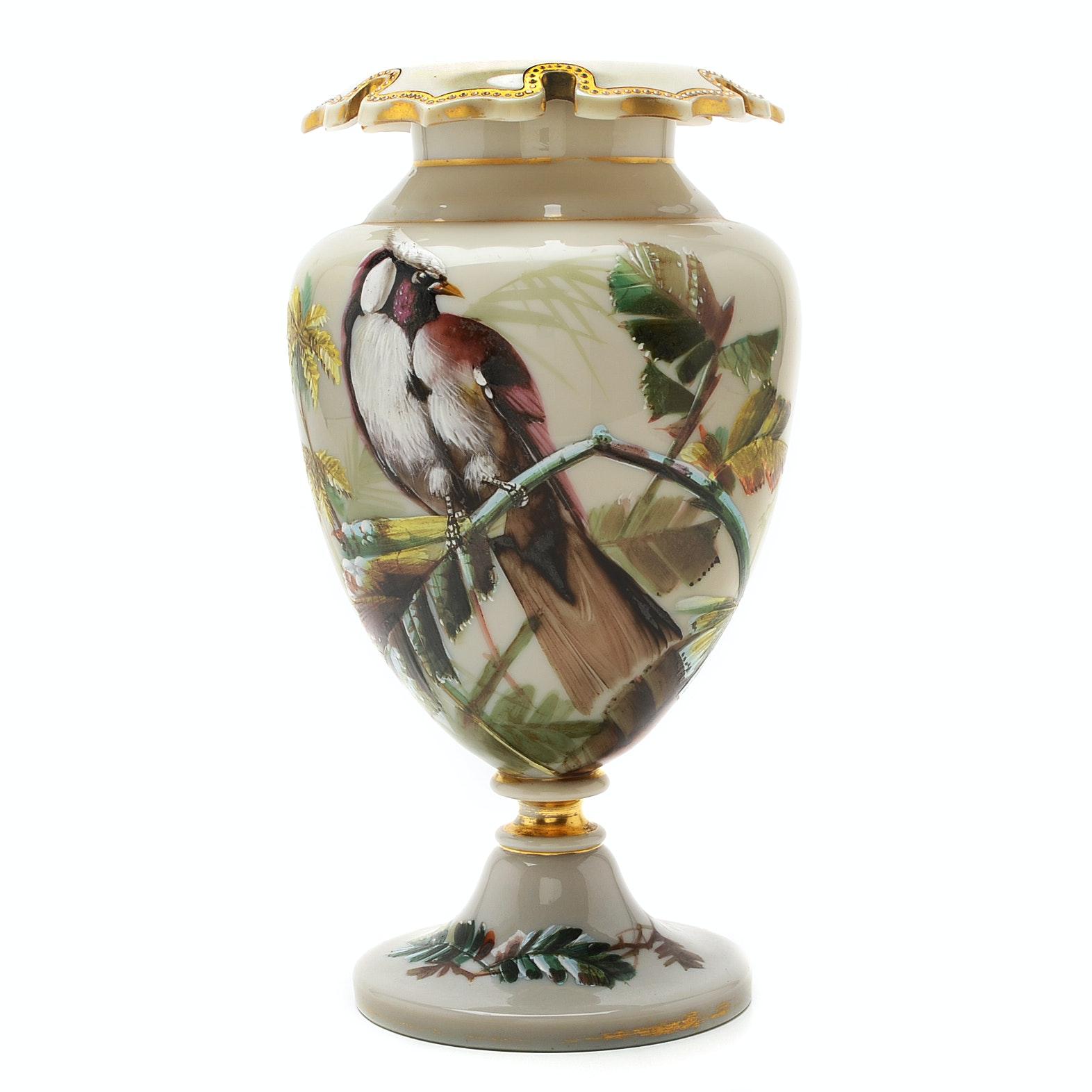 Victorian Hand Painted Bristol Glass Vase