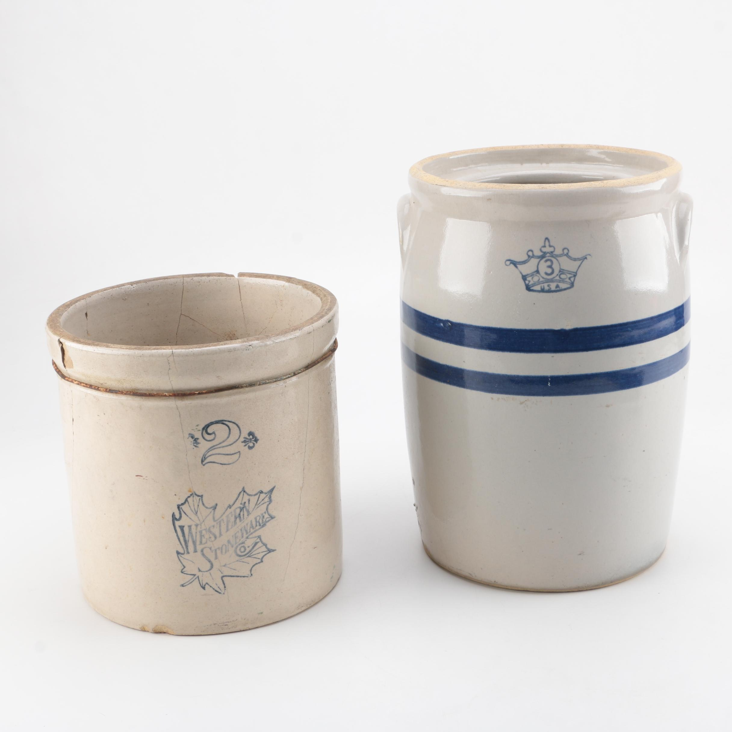 R.R.P. Co. and Western Stoneware Blue and Grey Crocks