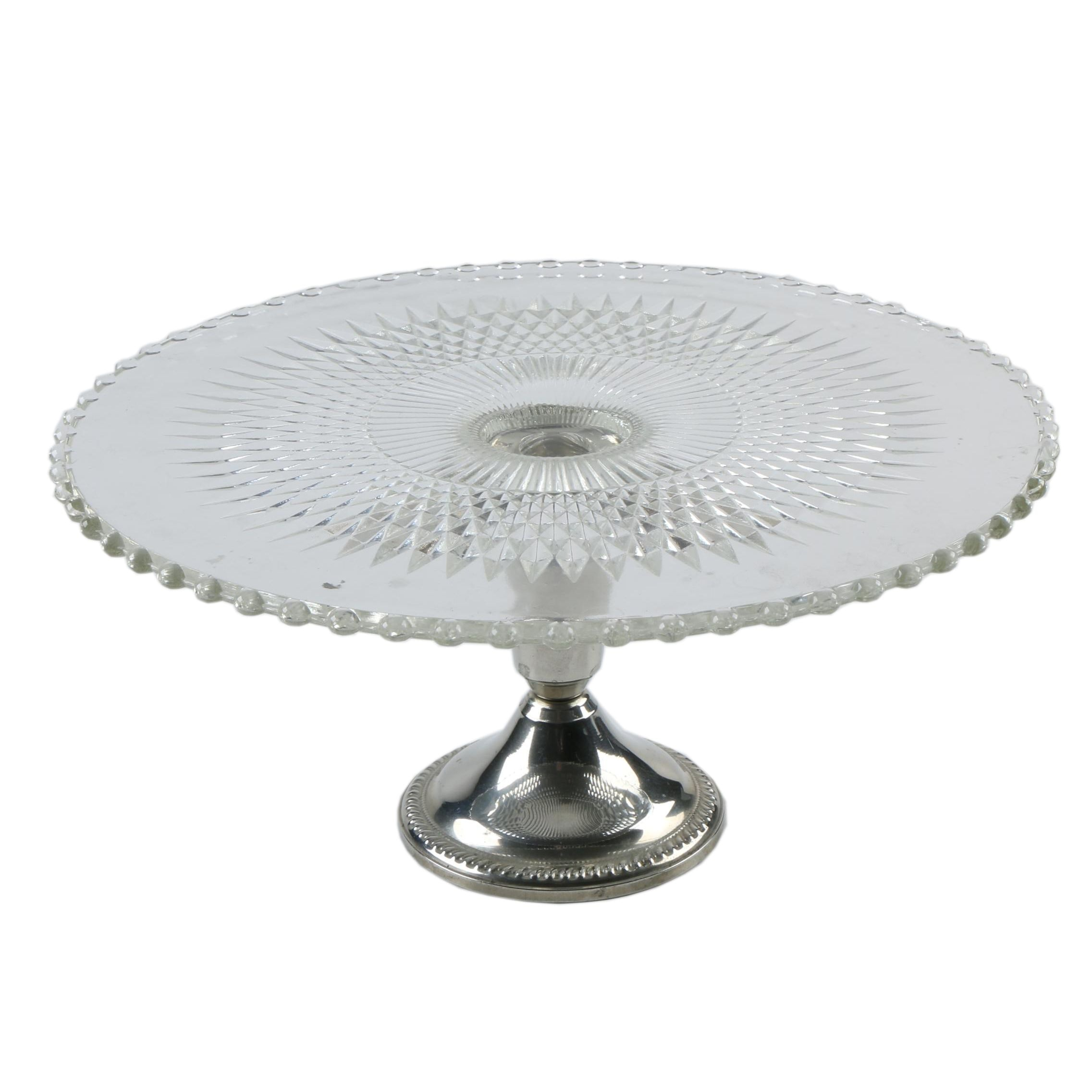 Glass and Silver Plate Cake Stand