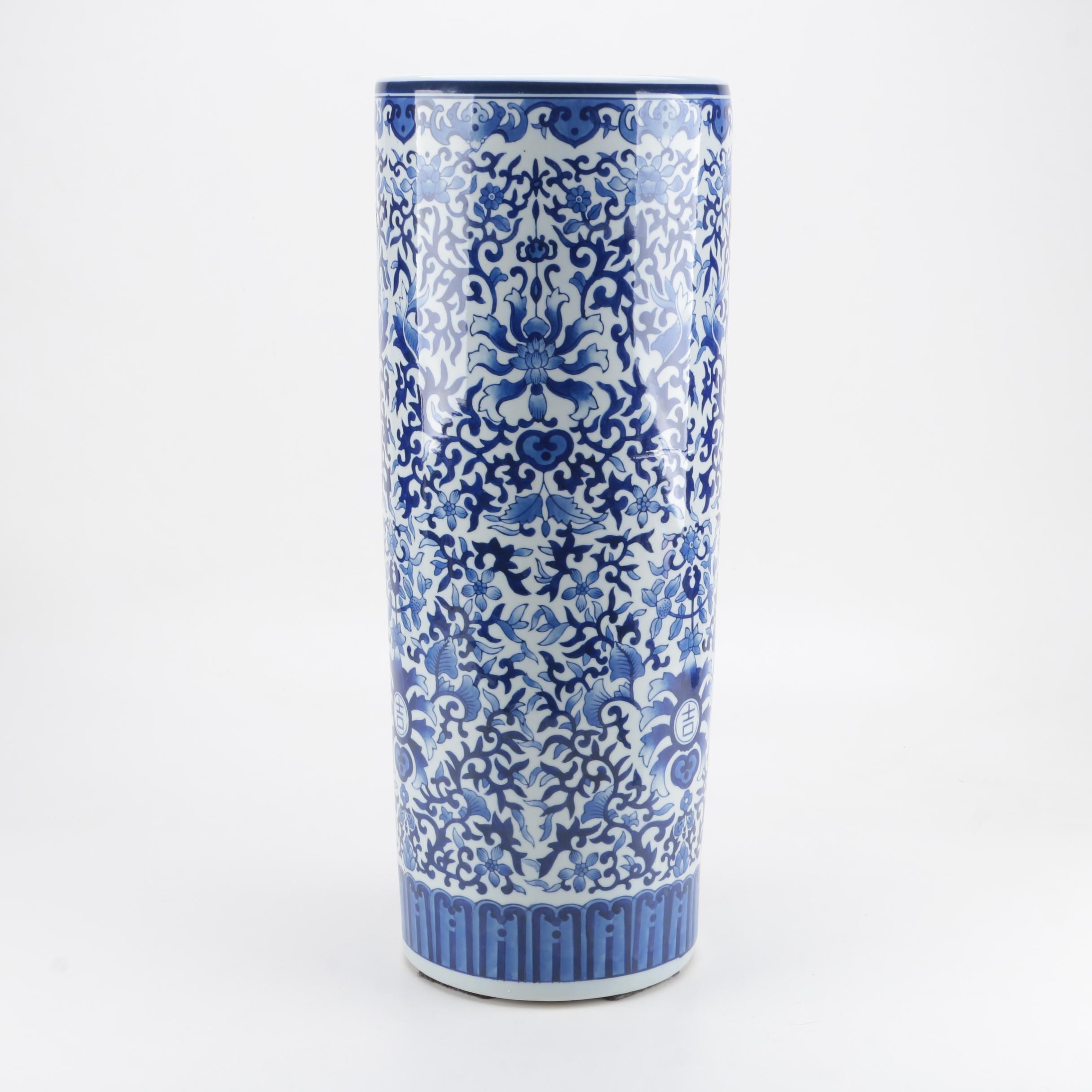Bombay Company Blue and White Ceramic Umbrella Stand