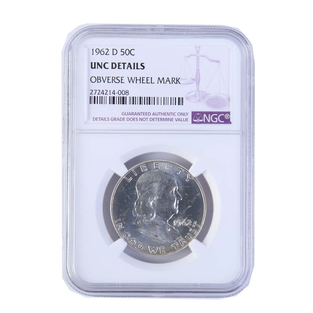 1962-D Encapsulated and NGC Graded Franklin Silver Half Dollar