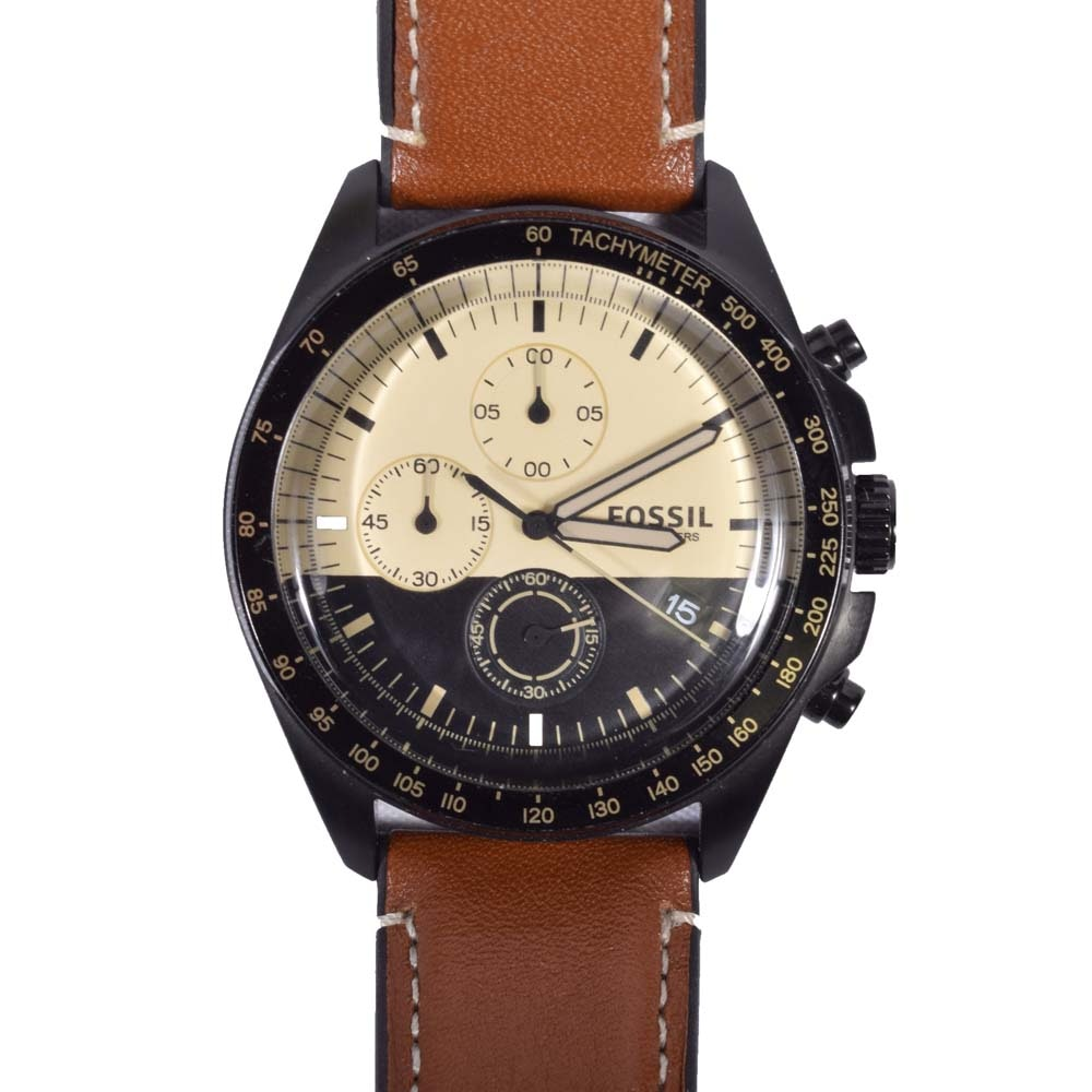 Fossil Sport 54 Chronograph Luggage Leather Wristwatch