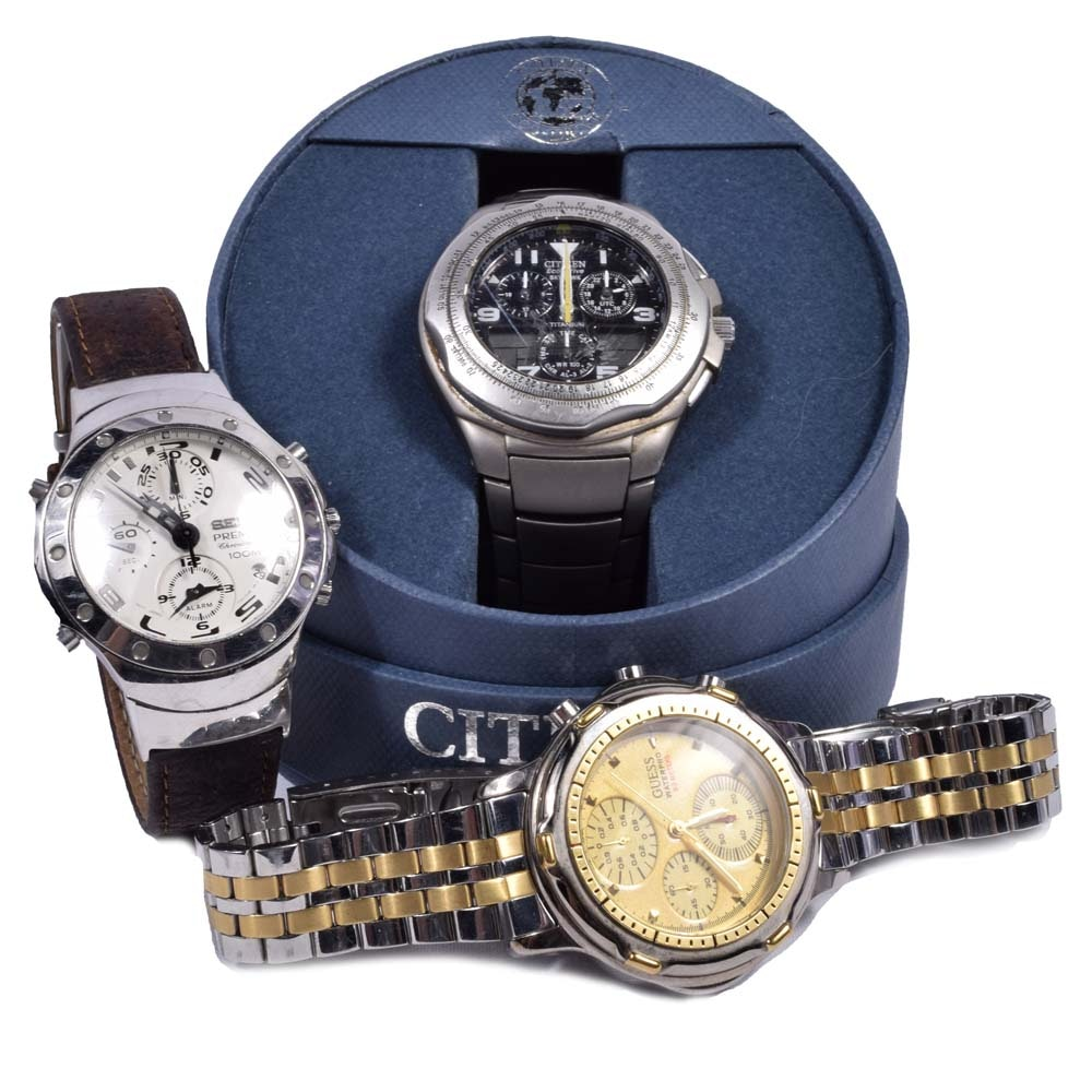 Wristwatch Collection Featuring Citizen Eco-Drive, Guess and Seiko