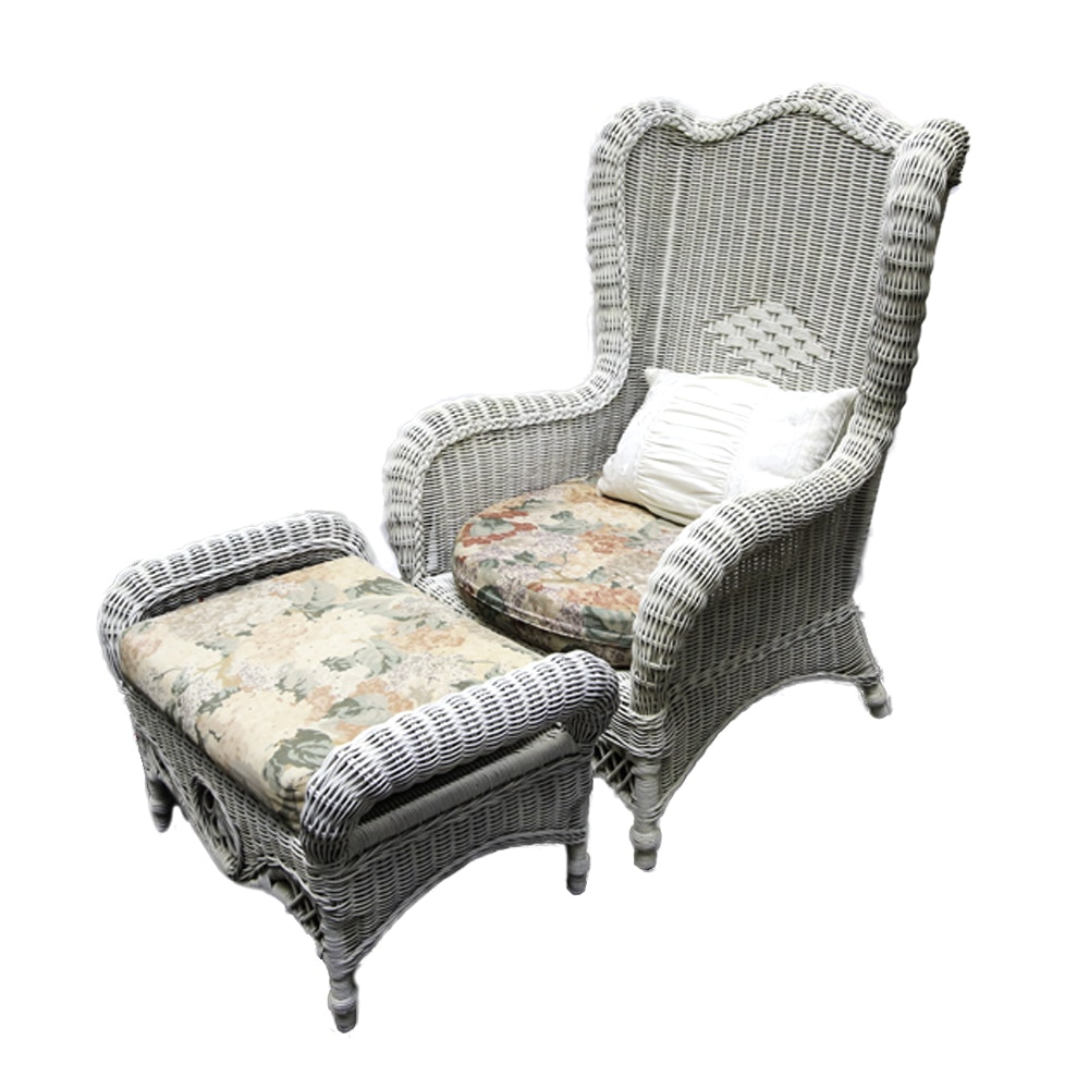 Wicker Wingback Chair with Ottoman