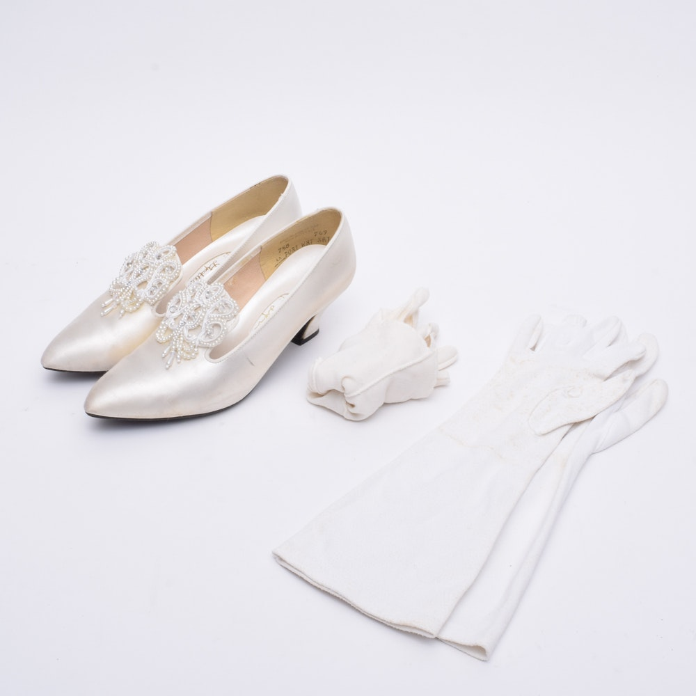 Women's Vintage Satin Beaded Bridal Shoes and White Gloves