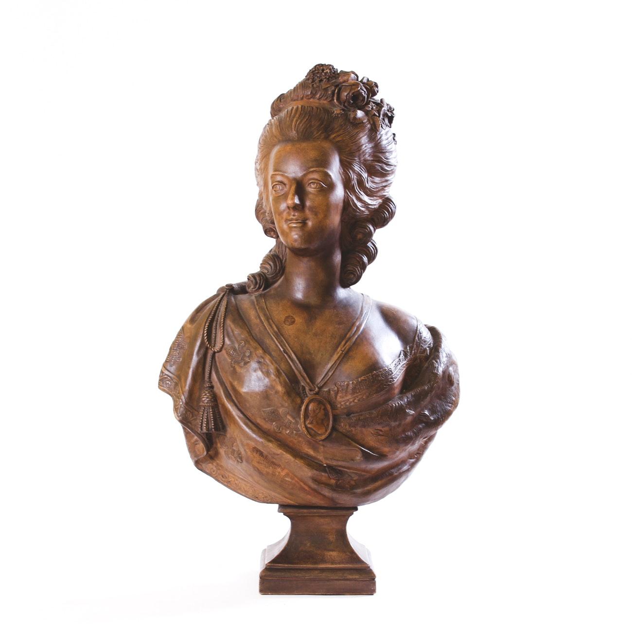Terracotta Bust After Felix Lecomte of Marie Antoinette