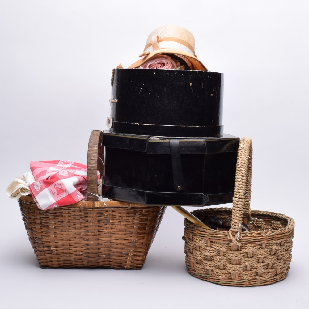 Women's Vintage Hats, Handkerchiefs and Textiles with Wicker Baskets