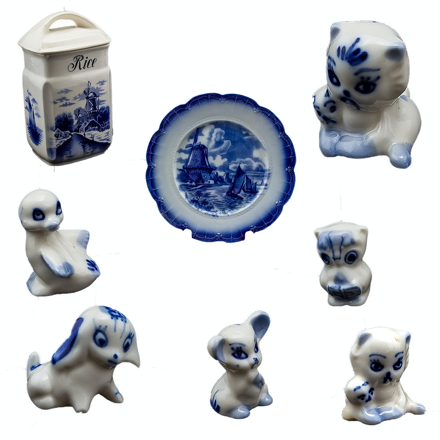 Vintage Delft Canister, Plate and Miniature Ceramic Figurines