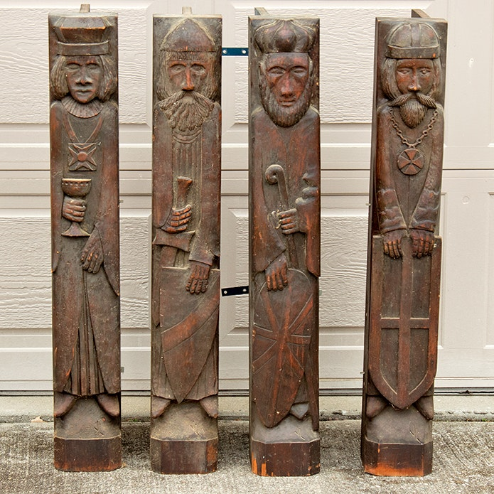 Architectural Salvage Carved Wood Saints