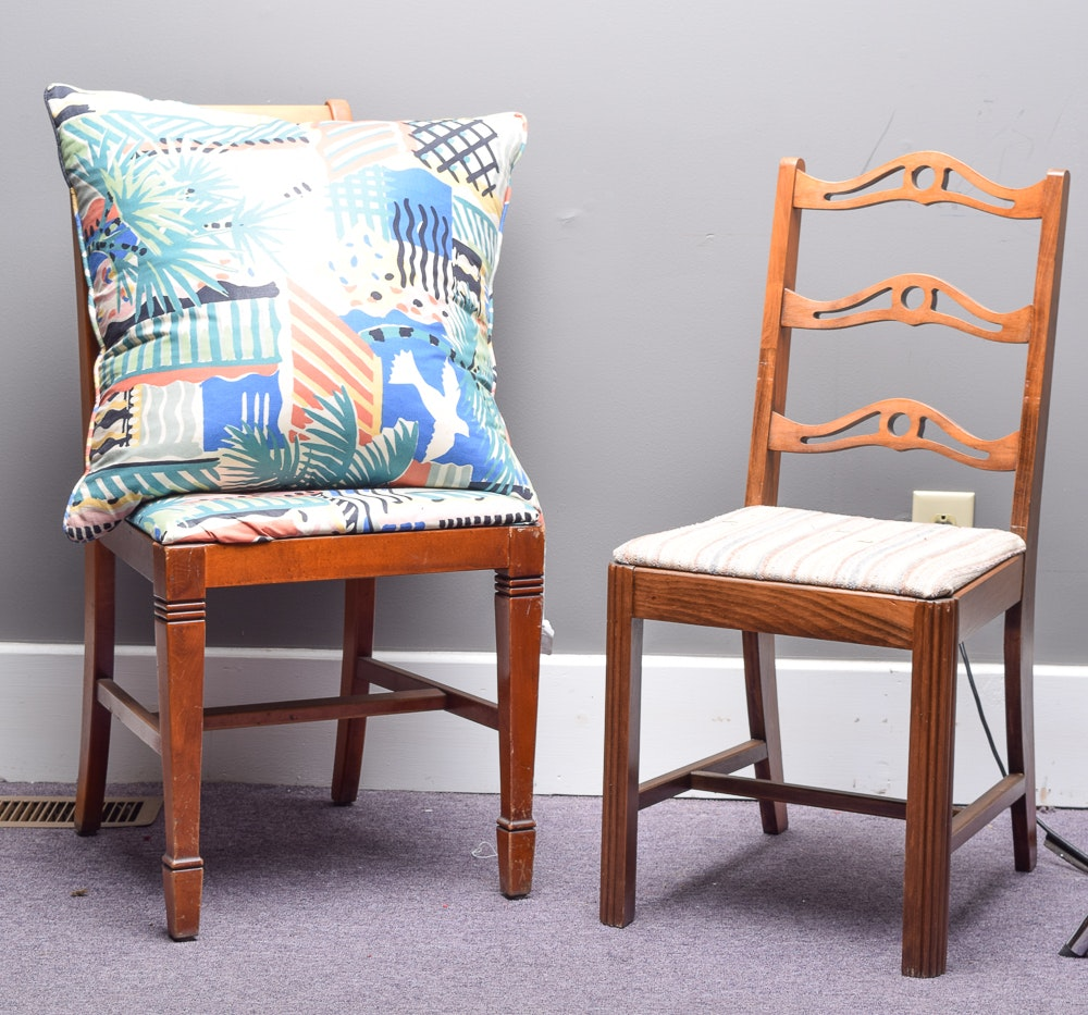Vintage Side Chairs with Pillow