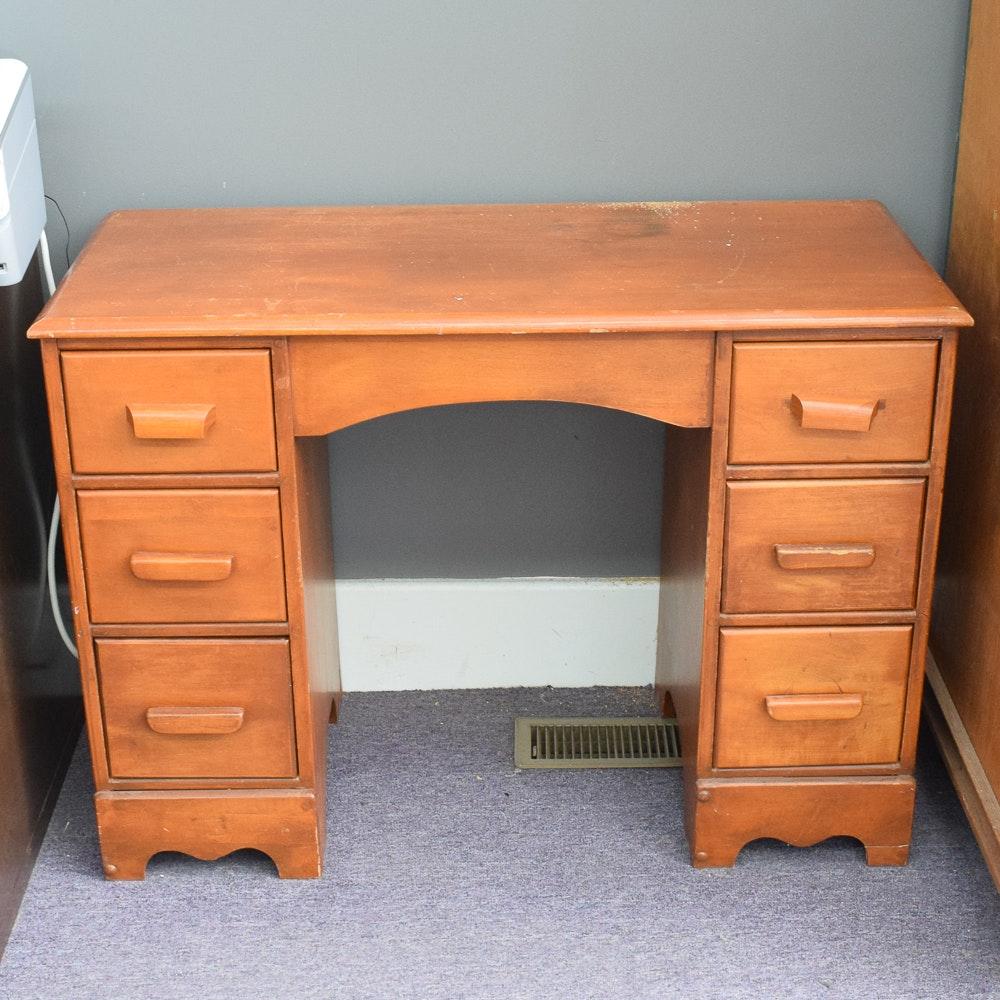 Vintage Maple Knee Hole Desk