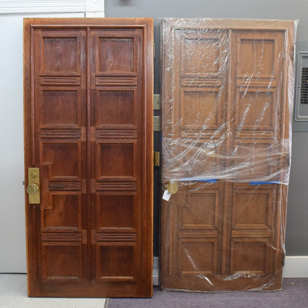Pair of Oak Paneled Exterior Doors