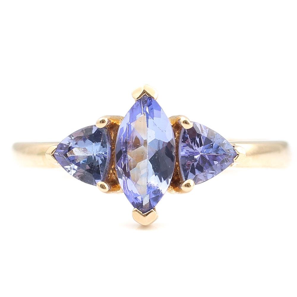 10K Yellow Gold 1.15 CTW Tanzanite Ring
