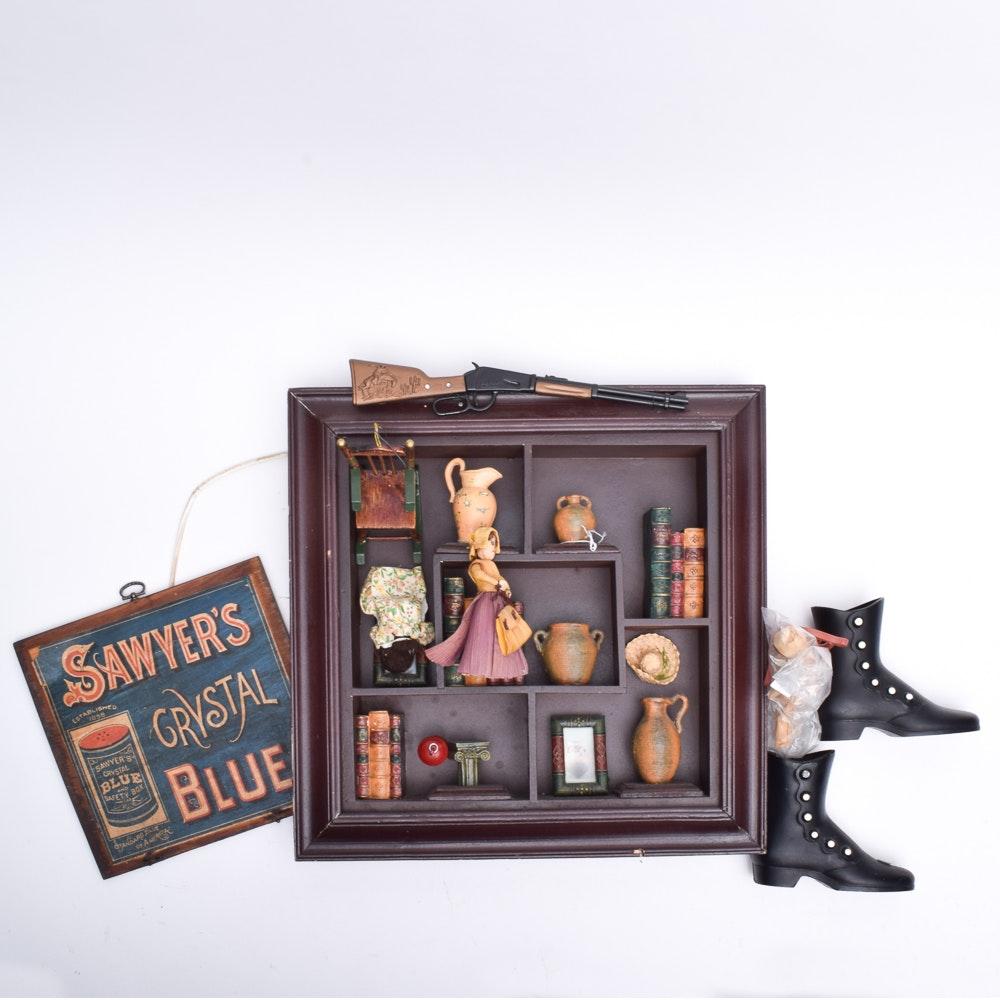 Americana Collectibles Including Shadowbox
