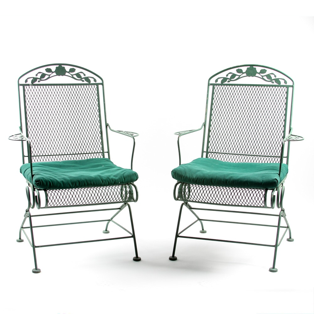 Pair of Wrought Iron Metal Patio Chairs
