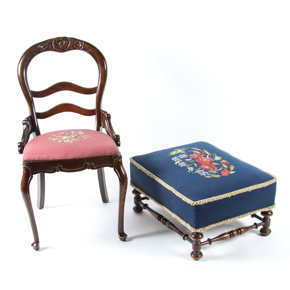 Needlepoint Side Chair by Tell City and Needlepoint Ottoman
