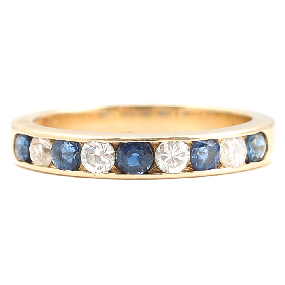 14K Yellow Gold Channel Set Sapphire and Diamond Ring