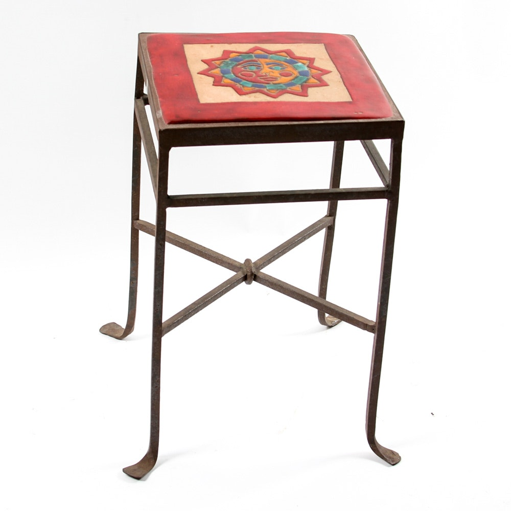 Ceramic Tile and Wrought Iron Occasional Table