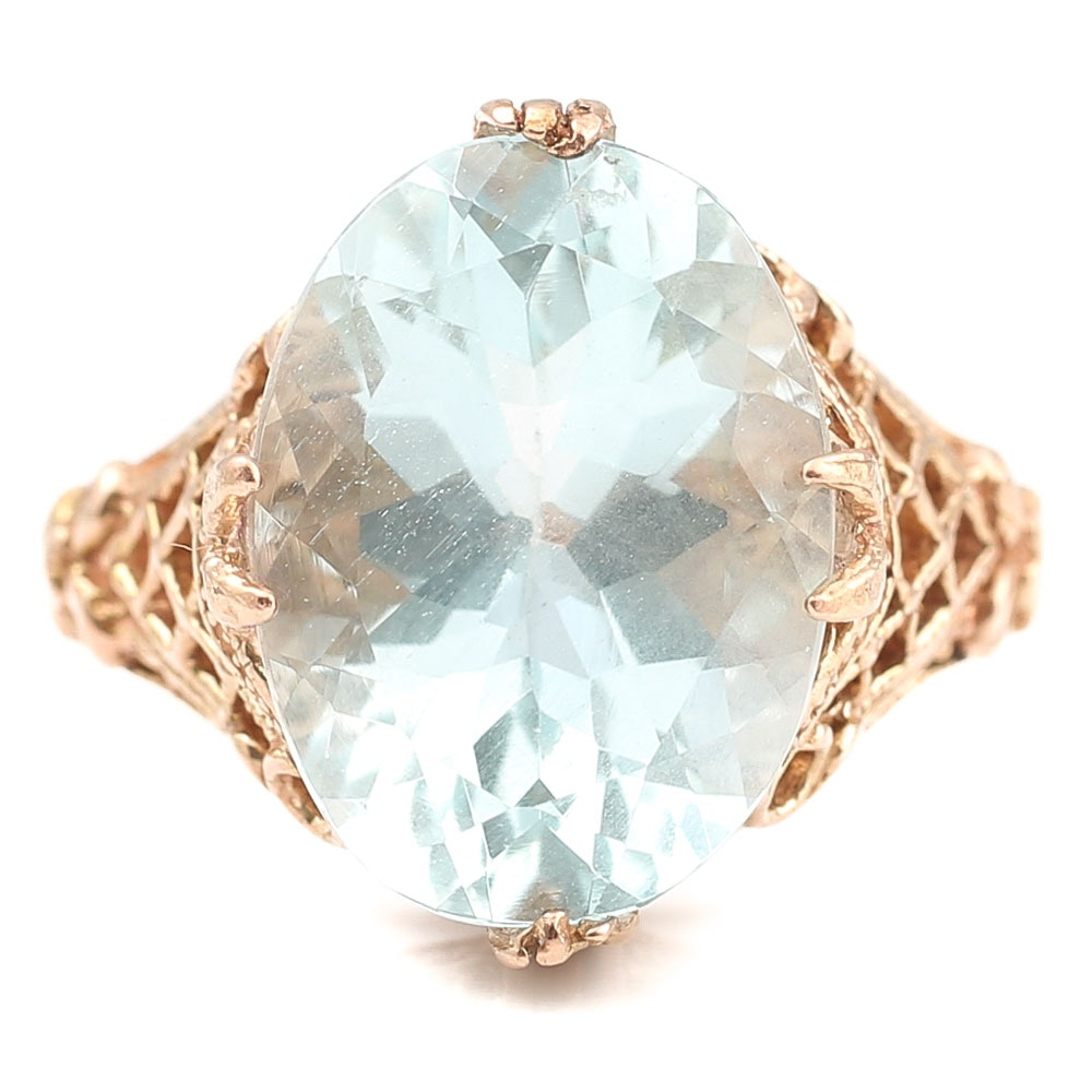 10K Rose Gold 5.32 CT Aquamarine Ring