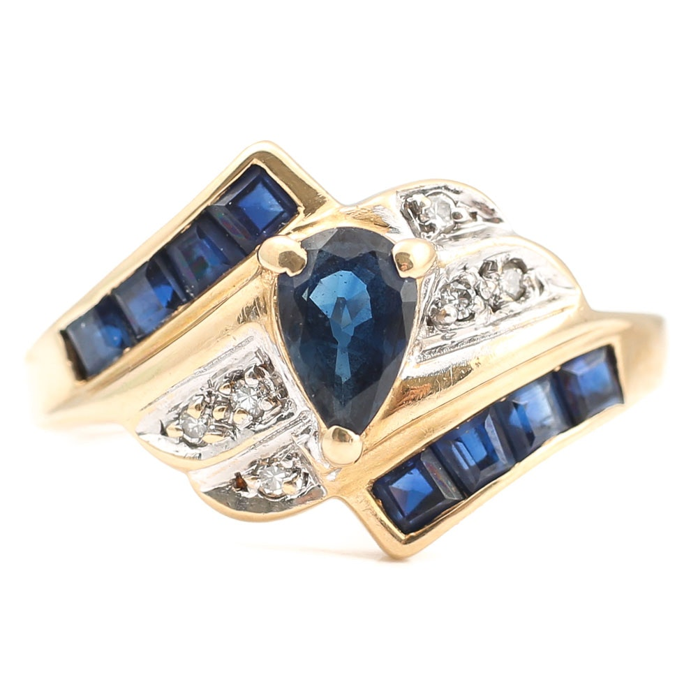 14K Yellow Gold 1.00 CTW Sapphire and Diamond Bypass Ring