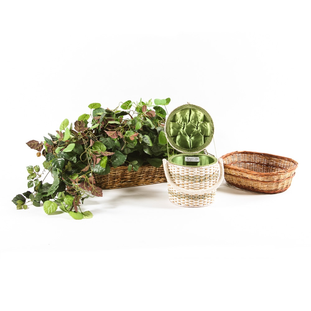 Artificial Houseplant and Woven Baskets