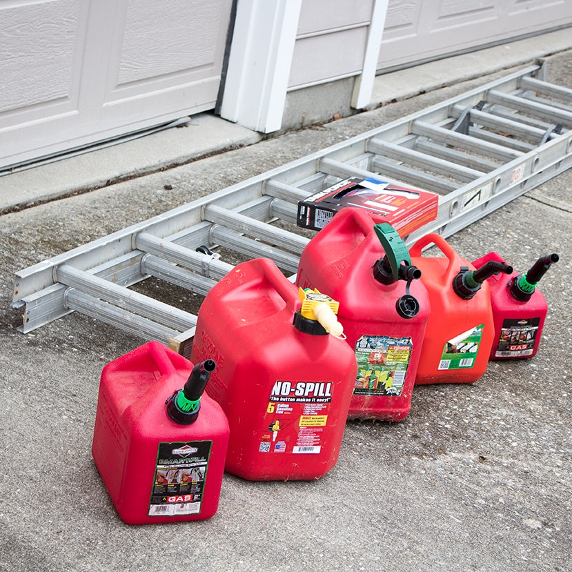 20' Extension Ladder, Task Force Electric Drill and Gas Cans