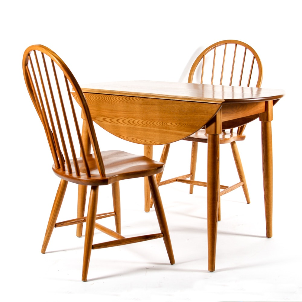 Hand-Crafted Drop Leaf Dining Table with Windsor Style Chairs
