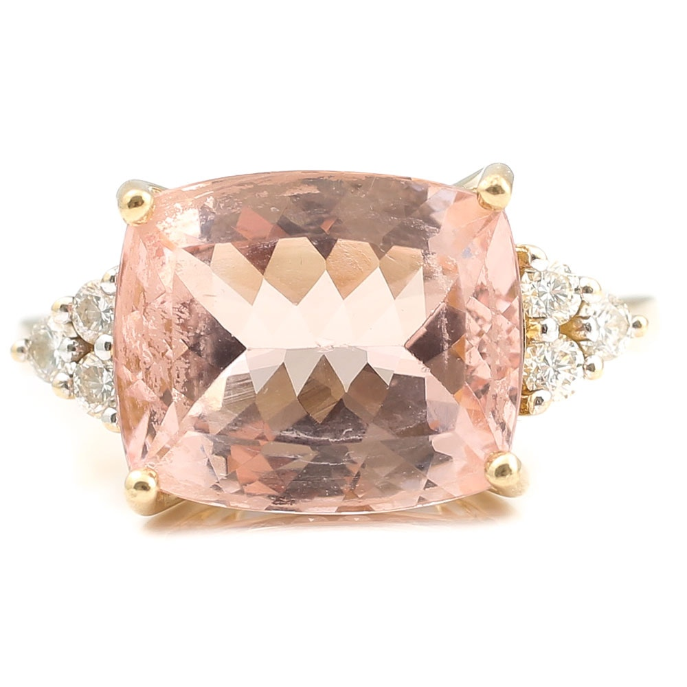 14K Yellow Gold 5.26 CT Morganite and Diamond Ring
