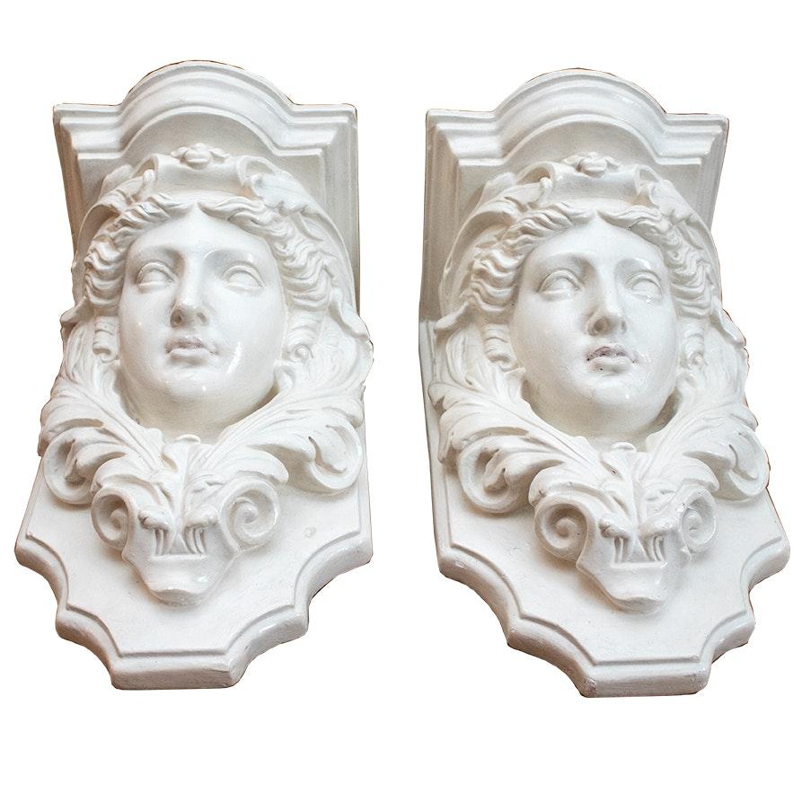 Classucal Style Ceramic Wall Shelves