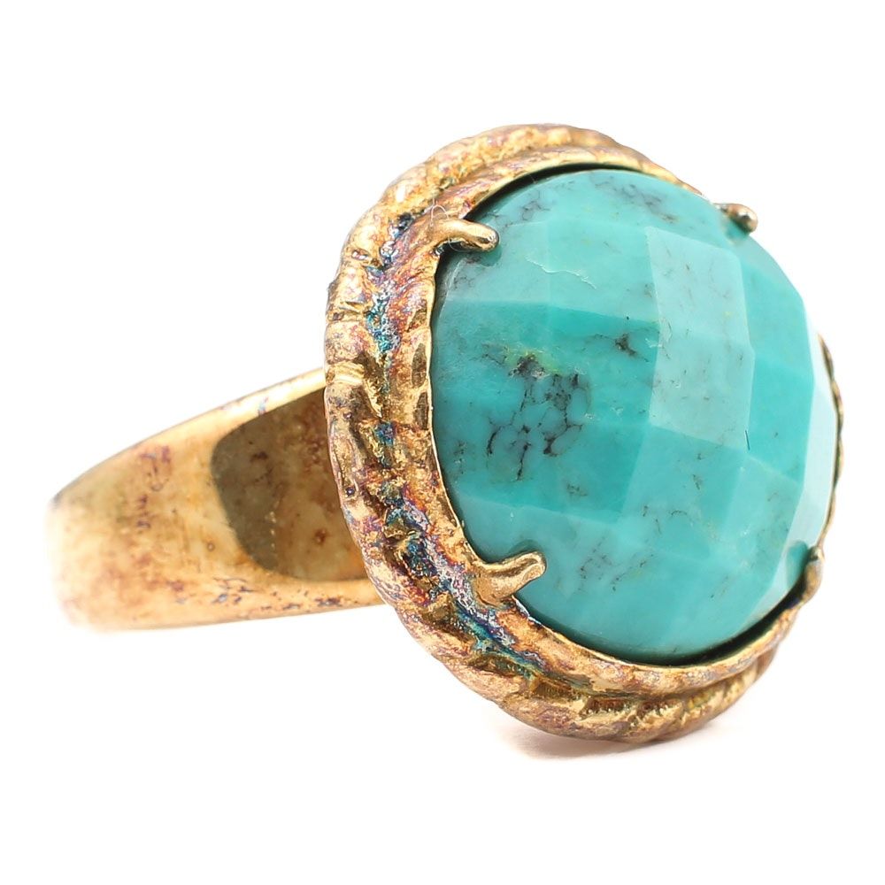 Gold Wash Over Sterling Turquoise Ring