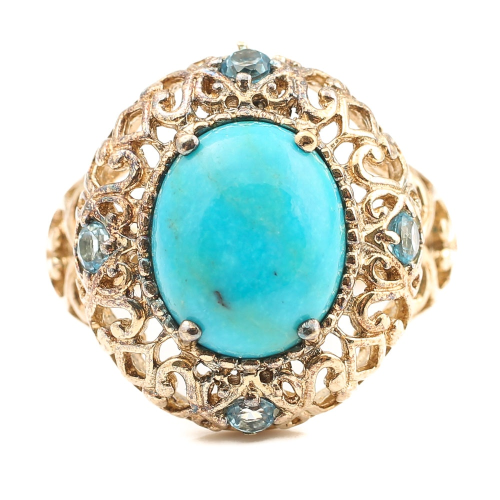 Gold Wash Over Sterling Turquoise and Blue Topaz Ring